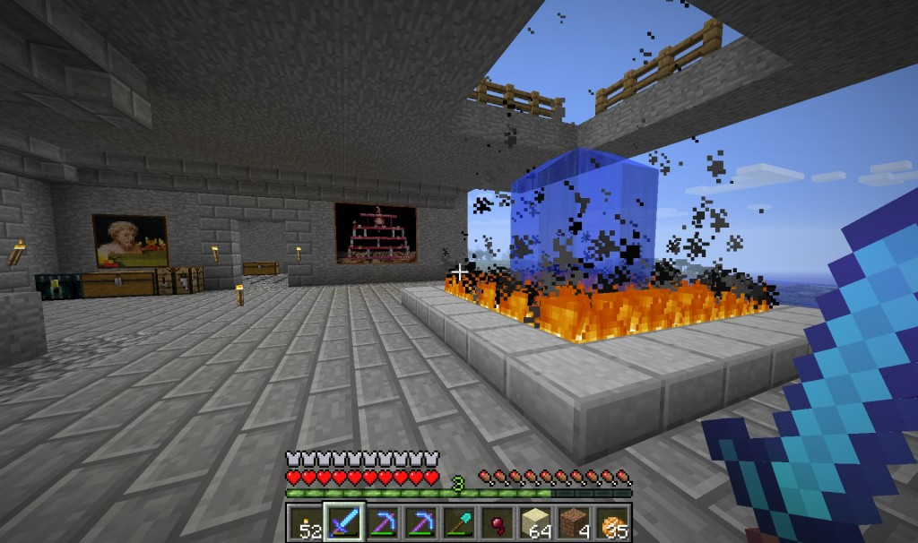 The inside of my house.  I loved the picture on the right.  It, however, kept getting destroyed by mobs or myself on accident.  Presently there is no right side picture.  :(