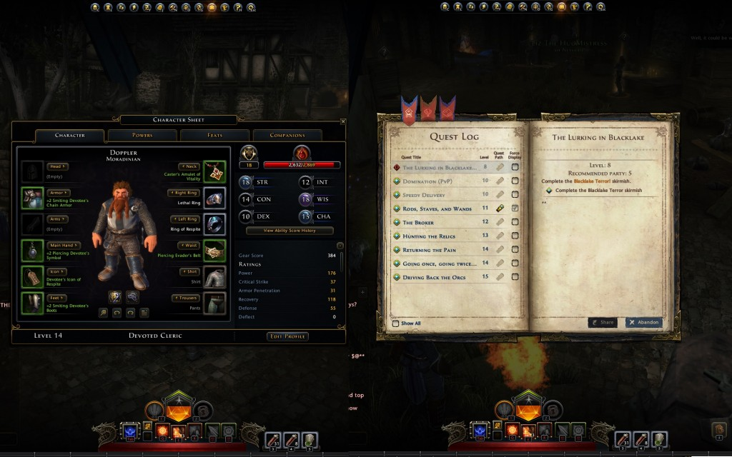 A split screen of both character sheet and Quest Log. Powers & Feats tabs