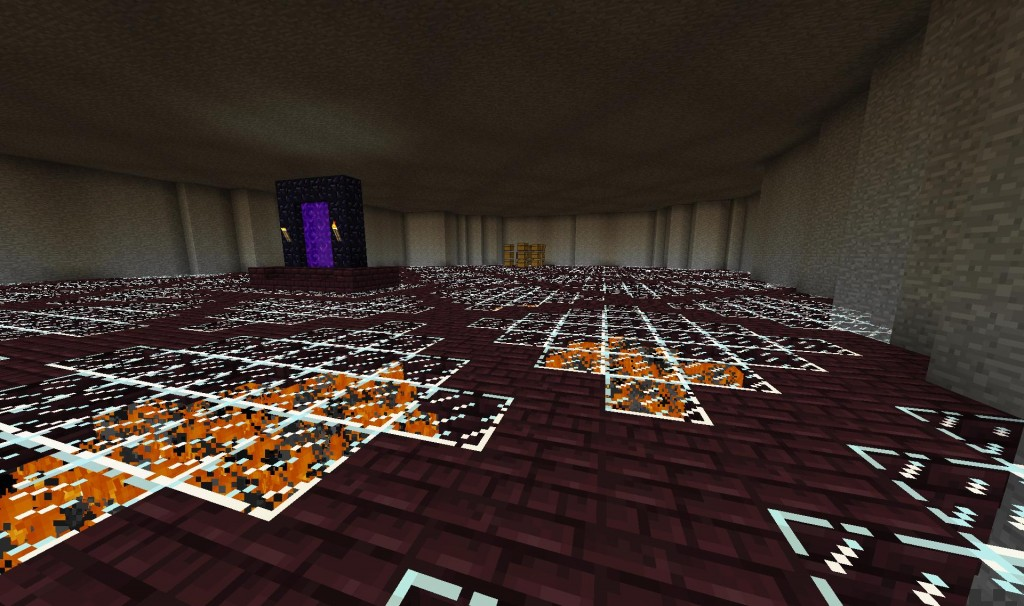 Those boxes aren't going to stay there, but this is a look at the finished room.  It's just high enough to still get light on the ceiling and have no monsters spawn anywhere in this room.