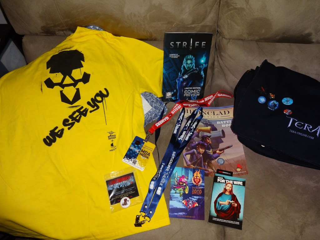 Some of my swag. Looking forward to a bit more tomorrow, but I wasn't really going out of my way this year.