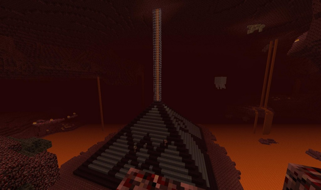 "Because I didn't want the lava to becoming out of nowhere I've decided to be ""funneling"" it from the ceiling of the nether.  I think it looks pretty neat."