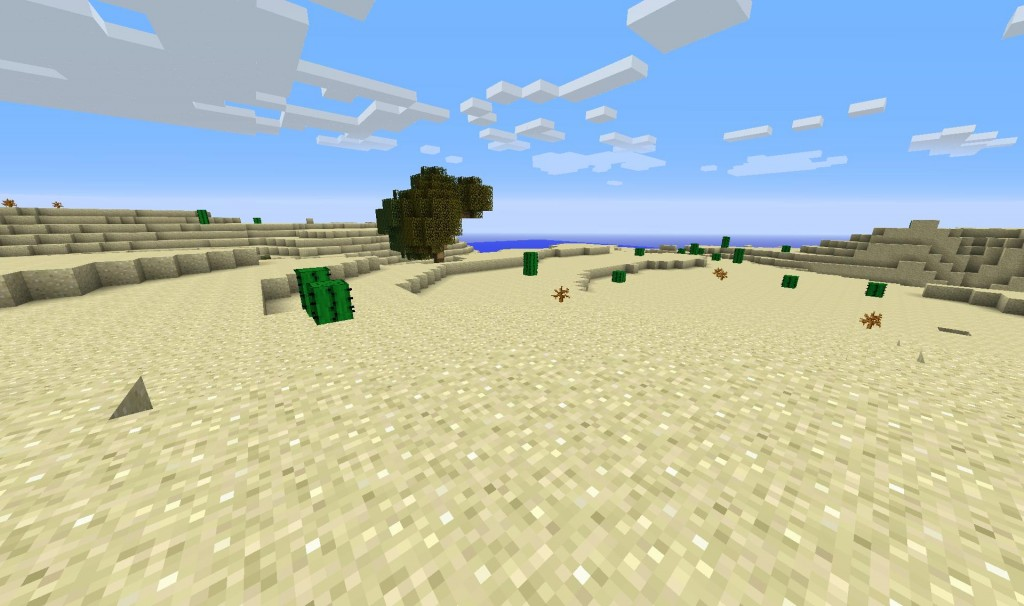 Oddly enough, there was a strip of one of the new biomes in the middle of the desert that had a huge tree!  Fantastic news for me since it gave me food and tools and also pointed me towards a giant hole.