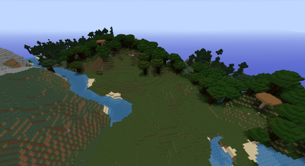 This is where I spawned, which is pretty nice considering all the dark oak trees around for the ample wood they give.