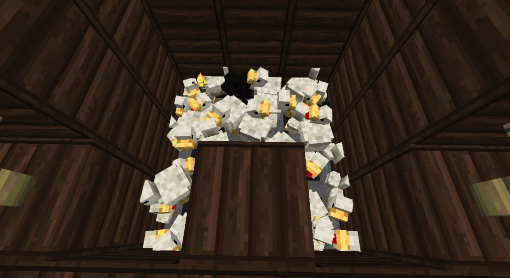 The chicken camp has been built! The amount of eggs I get and the exp and food...Is like ridiculous, spent a day fishing and came back to a full chest of eggs, then threw them all at the chickens and gained like...13 levels from killing most of the adults. I am not cruel...Only sometimes and that's towards chickens because they are so annoying. lol.