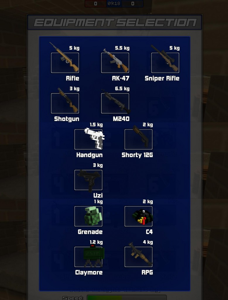 "This is a mash-up of all of the weapons you get a pick from. You can choose your main weapon, side arm and form of explosive fun time. The pistol felt pretty bad, much like the ""Rifle"", mostly everything else felt effective. I think the idea was not to overload you with weapon choices, but to deliver enough choices to cover all the bases. No gold paint needed here."