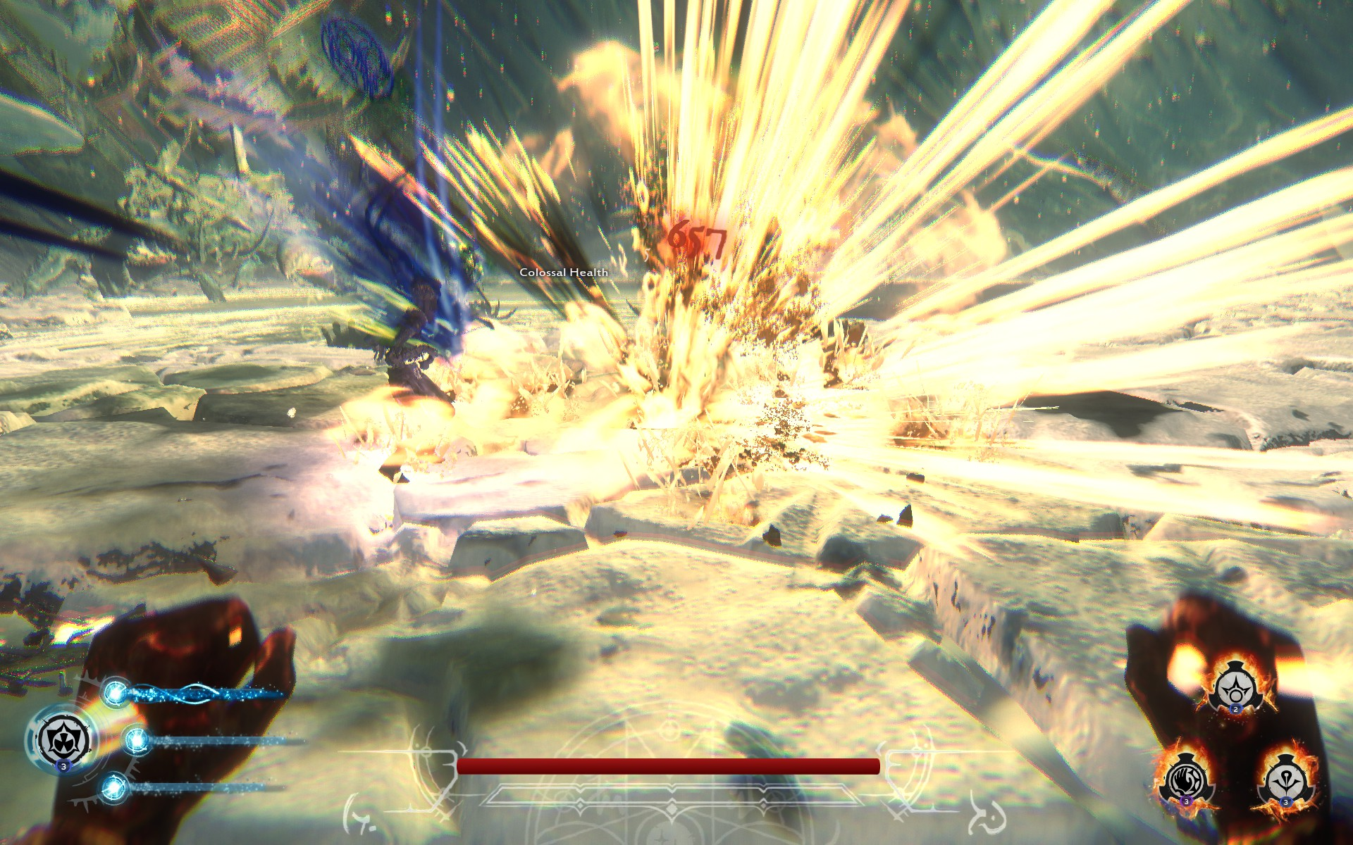 Blowing things up in Lichdom: Battlemage just looks good. The number here isn't super impressive, but at least the visuals make me feel like I'm doing a good job!