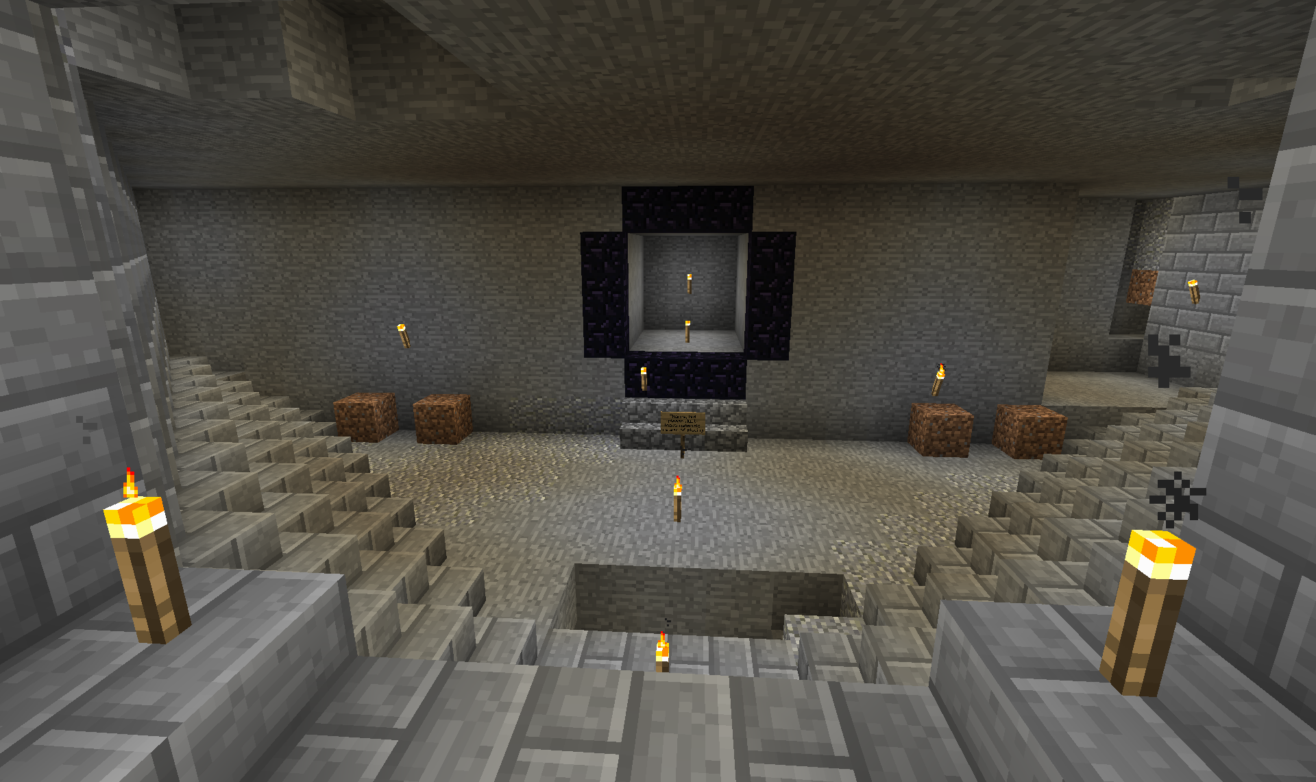 The nether portal room proper. That's... not how I want the the portal to look, but that was a gift from another person I said could stay in one of the rooms in the living quarters. I'll have to take it down and remake it in a really sweet cool-looking fashion.