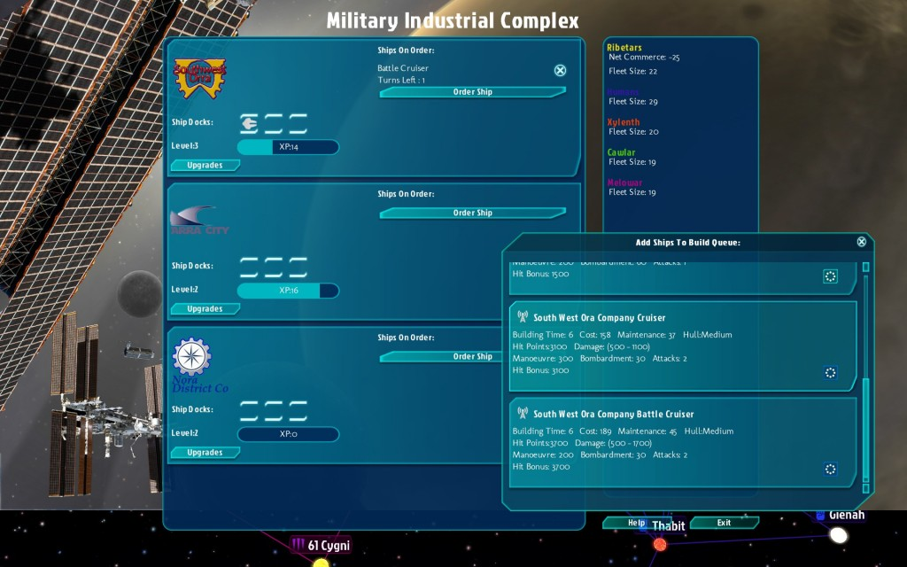 You get your ships from the Military Industrial Complex rather than specific planets. This is a pretty sweet change since while your main research helps you figure out how to build bigger ships, the more you build with one company, they get perks as well. They all have three skill trees for a more weapons, defense, or maneuverability/repair focus. I like it!