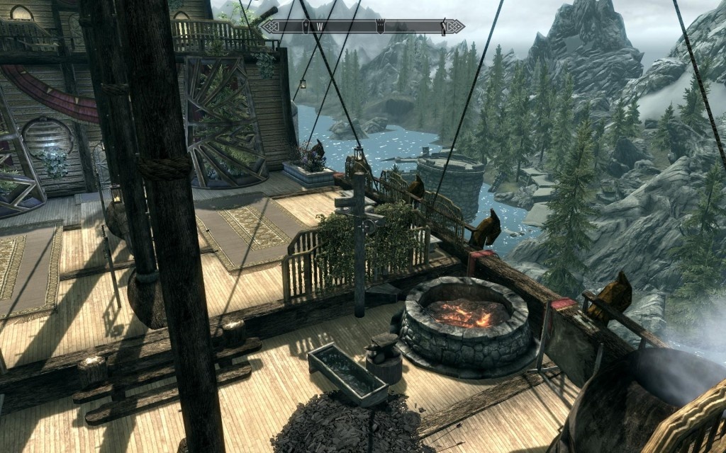 My favorite mod in Skyrim was the Asteria: a floating Dwemer ship. It had all the neccesities in one awesome, non-instanced, floating air-ship.