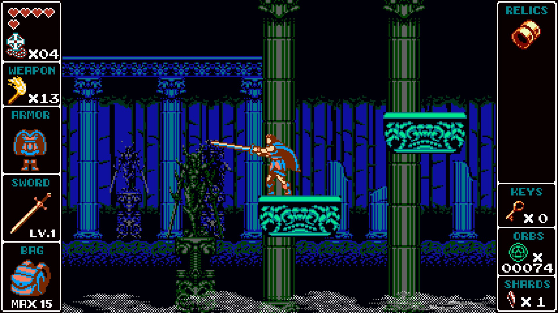 Just trying to push this statue over with my sword... just a little more and I've got it!