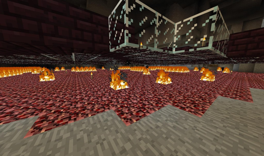 So this is the underside of the platform where the nether gate is.  This is it before I lit it on fire.  That was a lot of lighters.