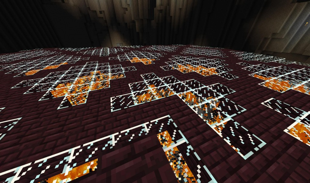 Here's a great look at the floor all burining and stuff.  There is so much fire that most other sounds didn't register.  That meant that I had to be super cautious of creepers and the like falling down on me.  That only happened three times and only caught me off guard once.