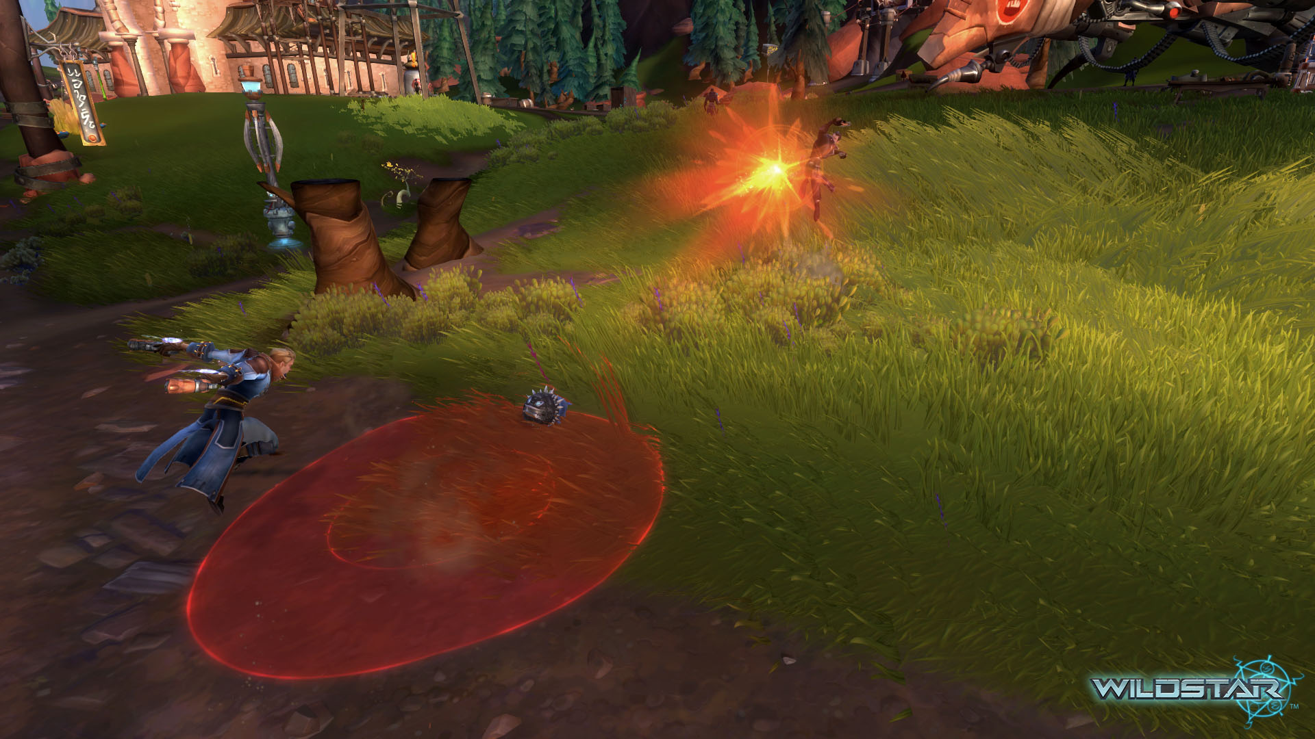 The red circle is what the Wildstar devs are calling telegraphs. It makes combat a bit more frantic than I expected. PVP in this game is nuts!