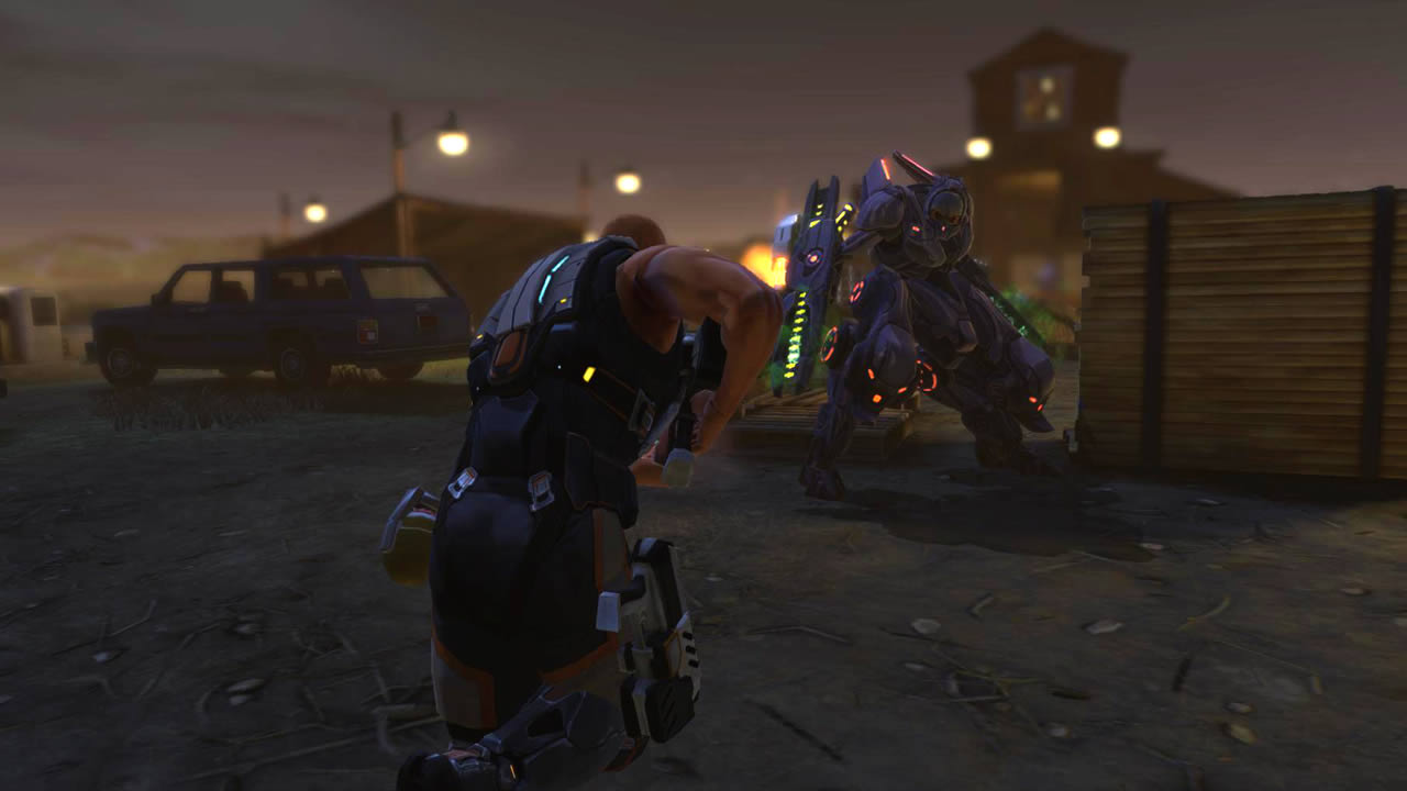 Do you think this Gen-Mod soldier is going to punch that robot alien? I think he should... it would be funnier.