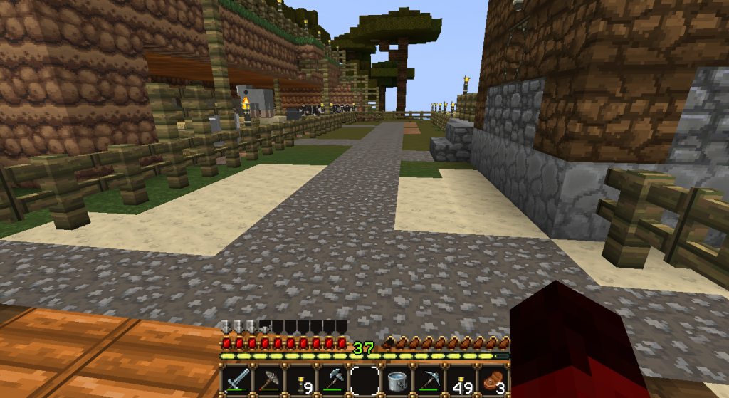 I just added some gravel around from the house to everything else to make it feel more welcoming.