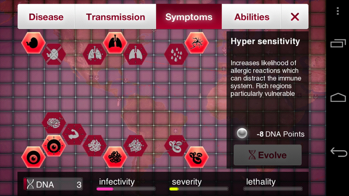 A look at the basic symptoms you can evolve for your disease and get higher on the ladder.