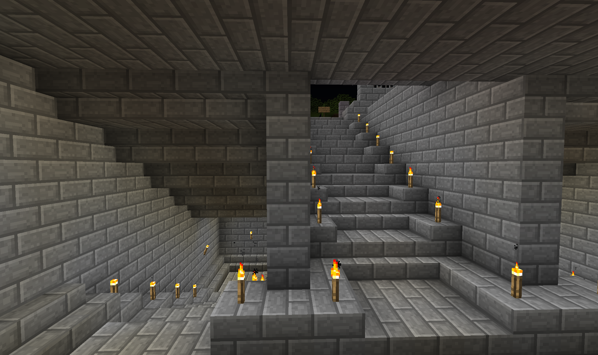 Here you can see the stairs split and then go down again some more.