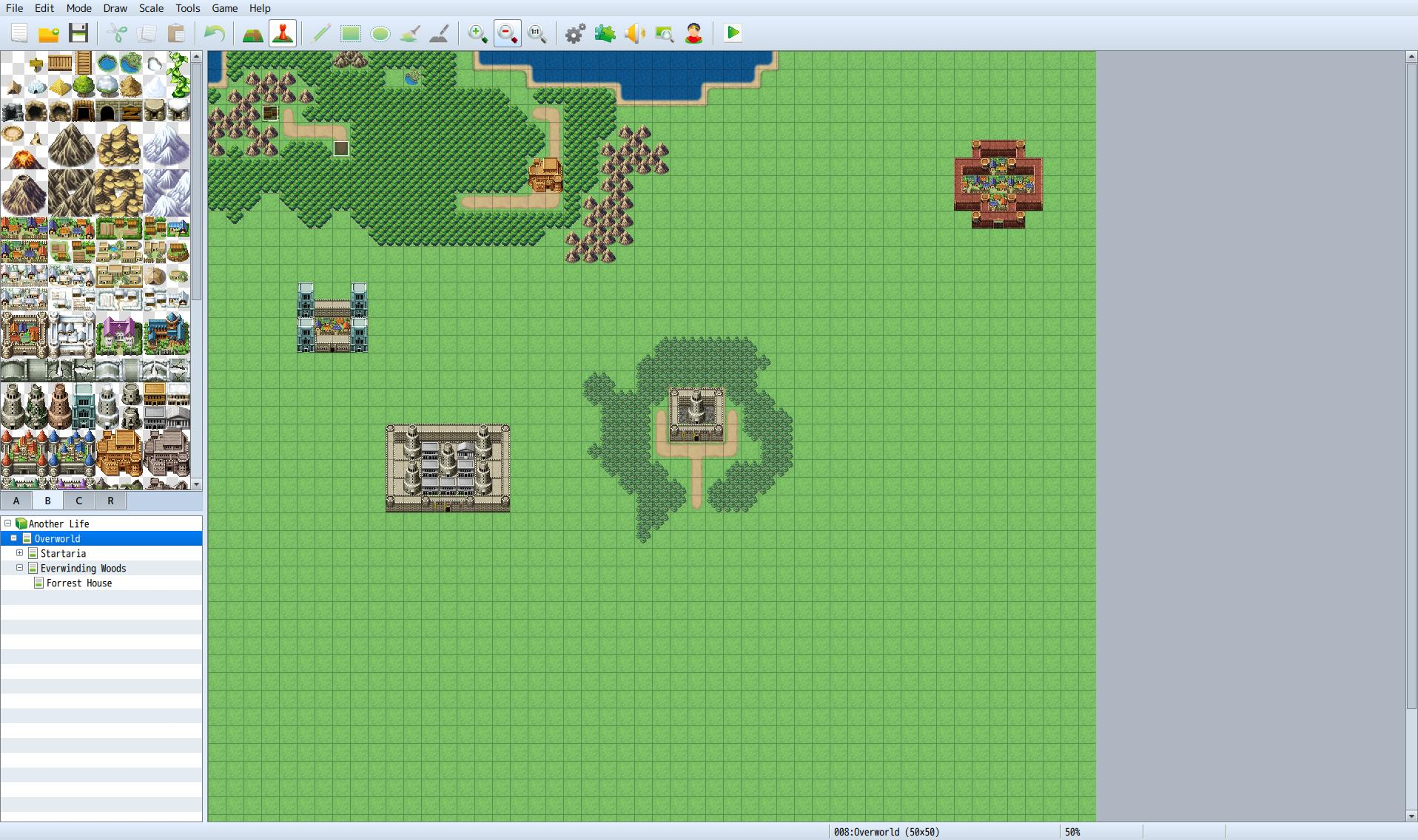 "Another thing that is kind of grinding on me is my inability to create a cool looking castle in the Overworld looking map. I've made some decent ones, but I've erased most of the ""oh jeez, what did I just create"" ones before screen capturing this."