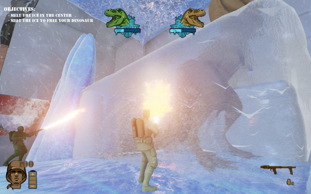 Teamwork, it's what it's all about. Just to see what happens at the end because it takes a long time to solo thaw a dinosaur in case you were wondering.