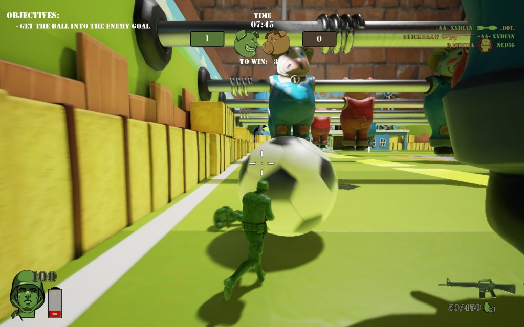 Fußball is so good in this game! I once scored all three goals, but mostly I get blown up.