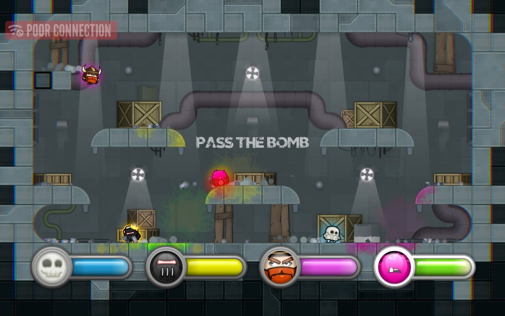 """Pass the Bomb has to be one of my favorite modes. Lag does play an unfortunate part here where sometimes you'll be touching someone and not pass the bomb, and then others will be an inch or two away and pass it magically to you. It's not constant, but when it pops up at the end of the bombs life, it can cause some major """"What was that!?!?!"""" more so than normal gameplay can in a good way."""